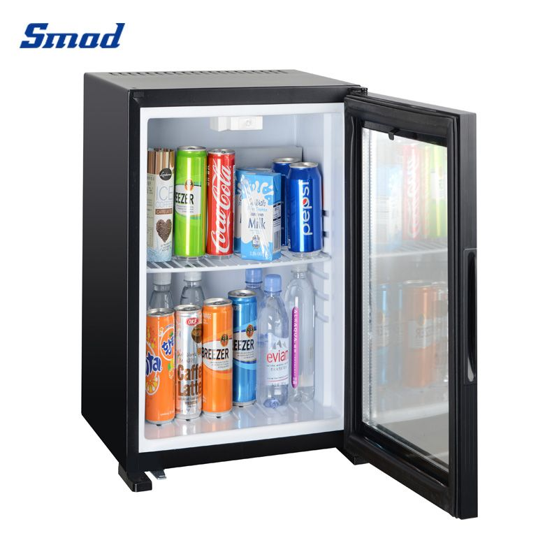 Smad 12V mini absorption fridge with glass door cooler for drinks counter top