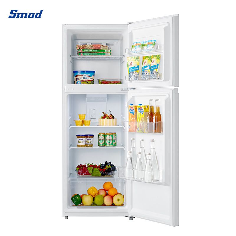 Smad cheap double door white refrigerator with top freezer