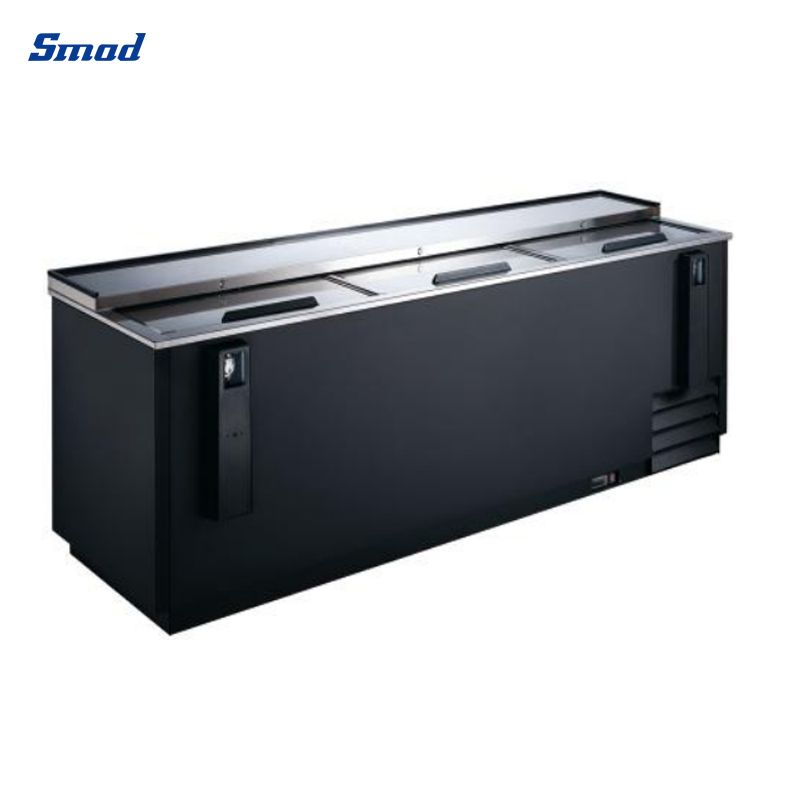 Smad cooler refrigerator has three top opening doors and two bottle lifters.