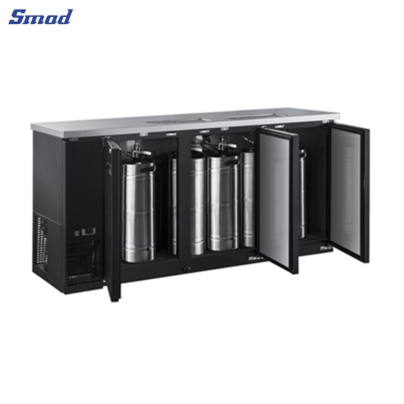 The cooler for sale has a black appearance and has 3 doors, and the top is made of stainless steel, which is easy to clean.